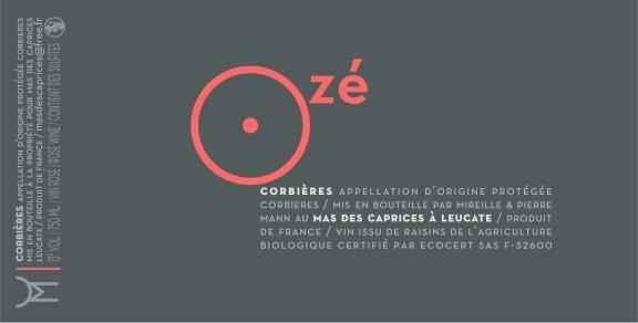 Étiquette vin rosé : Ozé 2012