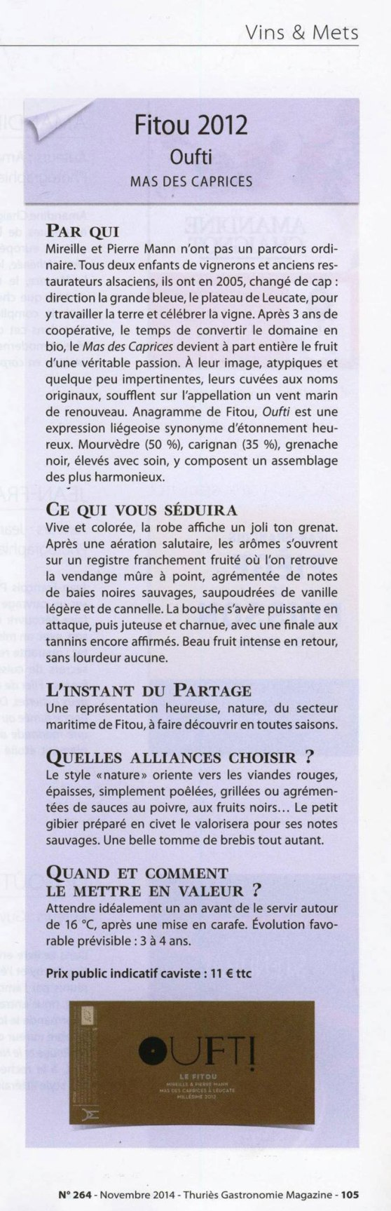 Oufti sur Thuries magazine